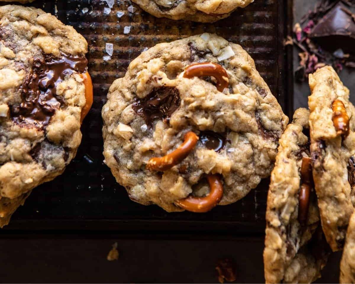 chocolate salted caramel pretzel cookies