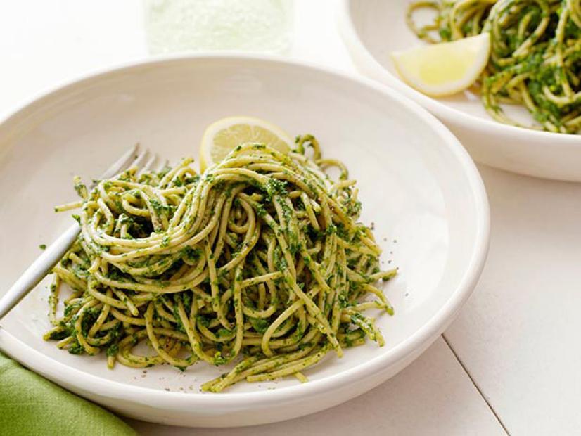 Kale and Pistachio Pesto Spaghetti